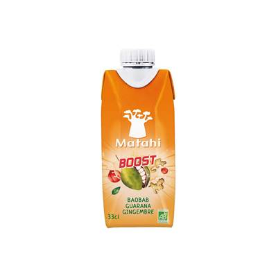 Boisson bio MAHATI BOOST Baobab Guarana Gingembre 33 cl