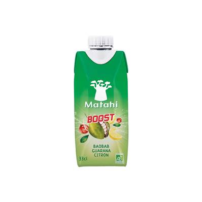 Boisson bio MATAHI BOOST Baobab Guarana Citron 33 cl